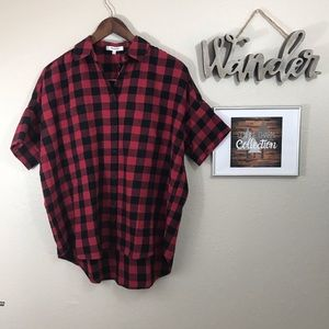 Madewell Plaid Oversized Short Sleeve Top NWT
